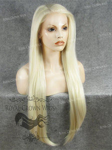 "30 inch Heat Safe Synthetic Straight Lace Front ""Hera"" in White Blonde Mix, Synthetic Wig, Royal Crown Wigs"