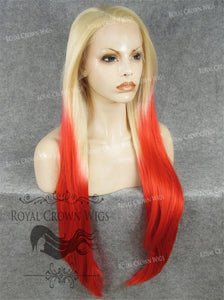 "30 inch Heat Safe Synthetic Straight Lace Front ""Hera"" in Blonde To Red Ombre, Synthetic Wig, Royal Crown Wigs"