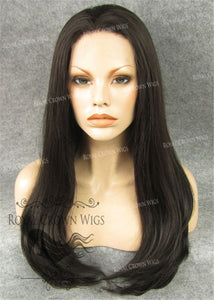 "24 inch Synthetic Straight Texture Lace Front ""Aphrodite"" in Natural Darkest Brown/Medium Brown Mix, Synthetic Wig, Royal Crown Wigs"