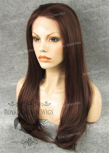 "24 inch Synthetic Straight Texture Lace Front ""Aphrodite"" in Dark Auburn with Soft Auburn Highlight Mix, Synthetic Wig, Royal Crown Wigs"