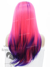 "24 inch Heat Safe Synthetic Straight Texture Lace Front ""Aphrodite"" in Purple Root and Tipped Hot Pink, Synthetic Wig, Royal Crown Wigs"