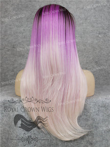 "24 inch Heat Safe Synthetic Straight Texture Lace Front ""Aphrodite"" in Purple Ombre, Synthetic Wig, Royal Crown Wigs"