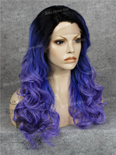 "24 inch Heat Safe Synthetic Wig Lace Front ""Rani"" with Curly Texture in Rooted Blue to Purple Ombre, Synthetic Wig, Royal Crown Wigs"