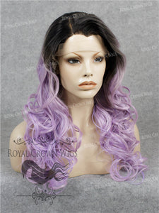 "24 inch Heat Safe Synthetic Wig Lace Front ""Rani"" with Curly Texture in Rooted Lilac, Synthetic Wig, Royal Crown Wigs"
