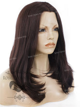 "17 inch Heat Safe Synthetic Lace Front ""Victoria"" Bob with Straight Texture in Dark Auburn, Synthetic Wig, Royal Crown Wigs"