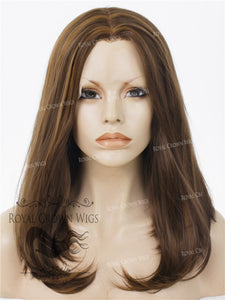 "17 inch Heat Safe Synthetic Lace Front ""Victoria"" Bob with Straight Texture in Brown With Golden Highlights, Synthetic Wig, Royal Crown Wigs"