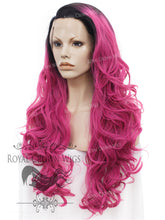 "26 inch Heat Safe Synthetic Lace Front ""Constance"" with Curly Texture in Rooted Magenta, Synthetic Wig, Royal Crown Wigs"