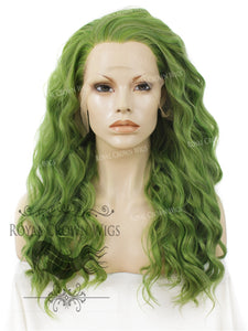 "24 inch Heat Safe Synthetic Lace Front ""Ada"" with Wavy Texture in Galaxy Green, Synthetic Wig, Royal Crown Wigs"