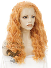 "24 inch Heat Safe Synthetic Lace Front ""Ada"" with Wavy Texture in Orange Sherbet, Synthetic Wig, Royal Crown Wigs"