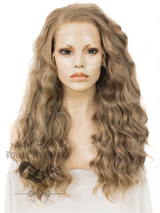 "24 inch Heat Safe Synthetic Lace Front ""Ada"" with Wavy Texture in Dark Ash Blonde, Synthetic Wig, Royal Crown Wigs"