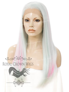 "24 inch Heat Safe Synthetic Straight Texture Lace Front ""Aphrodite"" in Dream Land Mix, Synthetic Wig, Royal Crown Wigs"
