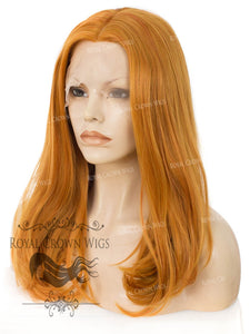 "17 inch Heat Safe Synthetic Lace Front ""Victoria"" Bob with Straight Texture in Tang Orange, Synthetic Wig, Royal Crown Wigs"