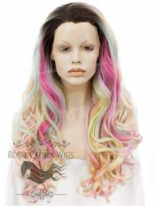 "26 inch Heat Safe Synthetic Lace Front ""Constance"" with Curly Texture in Unicorn Fantasy, Synthetic Wig, Royal Crown Wigs"