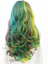 "26 inch Heat Safe Synthetic Lace Front ""Constance"" with Curly Texture in Space Rainbow, Synthetic Wig, Royal Crown Wigs"