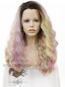 "24 inch Heat Safe Synthetic Lace Front ""Ada"" with Wavy Texture in Unicorn Fantasy, Synthetic Wig, Royal Crown Wigs"