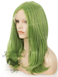 "17 inch Heat Safe Synthetic Lace Front ""Victoria"" Bob with Straight Texture in Galaxy Green, Synthetic Wig, Royal Crown Wigs"