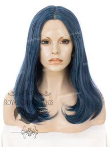 "17 inch Heat Safe Synthetic Lace Front ""Victoria"" Bob with Straight Texture in Deep Ocean Blue, Synthetic Wig, Royal Crown Wigs"