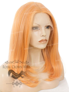 "17 inch Heat Safe Synthetic Lace Front ""Victoria"" Bob with Straight Texture in Orange Sorbet, Synthetic Wig, Royal Crown Wigs"