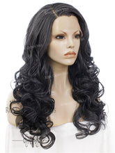 "24 inch Heat Safe Synthetic Wig Lace Front ""Rani"" with Curly Texture in Deep Space Gray, Synthetic Wig, Royal Crown Wigs"