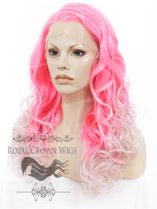"24 inch  Heat Safe Synthetic Wig Lace Front ""Rani"" with Curly Texture in Pink Ombre, Synthetic Wig, Royal Crown Wigs"