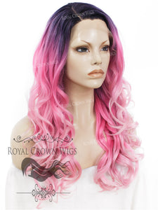 "24 inch Heat Safe Synthetic Wig Lace Front ""Rani"" with Curly Texture in Rooted Pink Ombre, Synthetic Wig, Royal Crown Wigs"