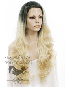 "26 inch Heat Safe Synthetic Lace Front ""Constance"" with Curly Texture in Rooted Platinum Blonde, Synthetic Wig, Royal Crown Wigs"