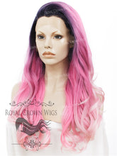 "26 inch Heat Safe Synthetic Lace Front ""Constance"" with Curly Texture in Rooted Pink Ombre, Synthetic Wig, Royal Crown Wigs"
