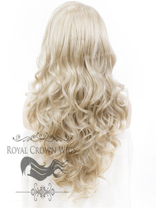 "26 inch Heat Safe Synthetic Lace Front ""Constance"" with Curly Texture in White/Platinum Blonde Mix, Synthetic Wig, Royal Crown Wigs"