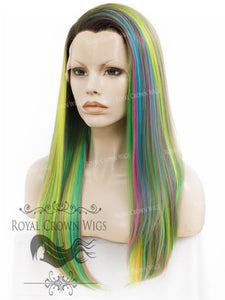 "24 inch Heat Safe Synthetic Straight Texture Lace Front ""Aphrodite"" in Space Rainbow, Synthetic Wig, Royal Crown Wigs"