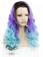 "24 inch Heat Safe Synthetic Lace Front ""Ada"" with Wavy Texture in Rooted Purple to Blue Ombre, Synthetic Wig, Royal Crown Wigs"