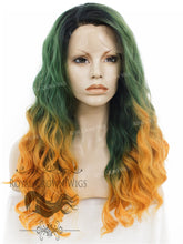 "24 inch Heat Safe Synthetic Lace Front ""Ada"" with Wavy Texture in Green to Orange Ombre, Synthetic Wig, Royal Crown Wigs"