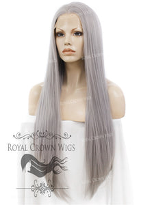 "30 inch Straight Lace Front Synthetic Wig ""Hera"" in Space Gray, Synthetic Wig, Royal Crown Wigs"
