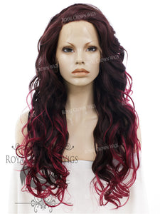 "26 inch Heat Safe Synthetic Lace Front in Curly Texture ""Calypso"" in Burgundy Ombre, Synthetic Wig, Royal Crown Wigs"