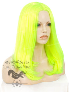 "17 inch Heat Safe Synthetic Lace Front ""Victoria"" Bob with Straight Texture in Highlighter Yellow/Green, Synthetic Wig, Royal Crown Wigs"