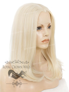 "17 inch Heat Safe Synthetic Lace Front ""Victoria"" Bob with Straight Texture in White/Platinum Blonde Mix, Synthetic Wig, Royal Crown Wigs"