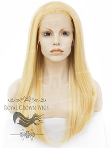 "24 inch Heat Safe Synthetic Straight Texture Lace Front ""Aphrodite"" in Pale Yellow, Synthetic Wig, Royal Crown Wigs"