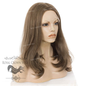 "17 inch Heat Safe Synthetic Lace Front ""Victoria"" Bob with Straight Texture in Light Brown With Highlights, Synthetic Wig, Royal Crown Wigs"