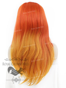 "24 inch Heat Safe Synthetic Straight Texture Lace Front ""Aphrodite"" in Fire Bird, Synthetic Wig, Royal Crown Wigs"