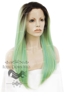 "24 inch Heat Safe Synthetic Straight Texture Lace Front ""Aphrodite"" in Rooted Sea Siren Green, Synthetic Wig, Royal Crown Wigs"