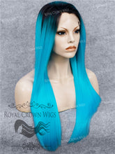 "24 inch Heat Safe Synthetic Straight Texture Lace Front ""Aphrodite"" in Electric Blue, Synthetic Wig, Royal Crown Wigs"