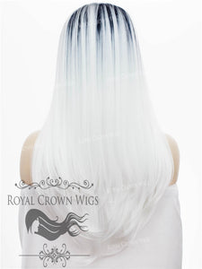 "24 inch Heat Safe Synthetic Straight Texture Lace Front ""Aphrodite"" in Dark Rooted White, Synthetic Wig, Royal Crown Wigs"