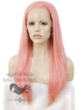 "24 inch Heat Safe Synthetic Straight Texture Lace Front ""Aphrodite"" in Powder Pink, Synthetic Wig, Royal Crown Wigs"