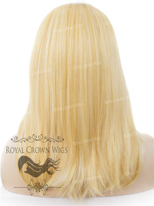 "17 inch Heat Safe Synthetic Lace Front ""Victoria"" Bob with Straight Texture in Glowing Blonde, Synthetic Wig, Royal Crown Wigs"