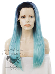 "24 inch Heat Safe Synthetic Straight Texture Lace Front ""Aphrodite"" in Rooted Powder Blue, Synthetic Wig, Royal Crown Wigs"