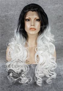 "26 inch Heat Safe Synthetic Lace Front in Curly Texture ""Calypso"" in Rooted White, Synthetic Wig, Royal Crown Wigs"