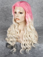 24 inch Synthetic Lace Front with Wave Texture in Pink Root to White Blonde Ombre, Synthetic Wig, Royal Crown Wigs