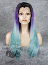 "24 inch Synthetic Straight Texture Lace Front ""Aphrodite"" in Tri-Color Ombre Black/Purple/Glacier Blue, Synthetic Wig, Royal Crown Wigs"