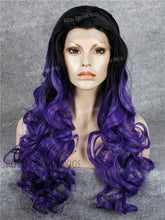 "26 inch Heat Safe Synthetic Lace Front in Curly Texture ""Calypso"" in Dark Root Purple Ombre, Synthetic Wig, Royal Crown Wigs"
