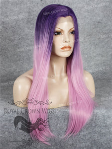 "24 inch Heat Safe Synthetic Straight Texture Lace Front ""Aphrodite"" in Purple Root Ombre, Synthetic Wig, Royal Crown Wigs"