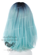 "17 inch Heat Safe Synthetic Lace Front ""Victoria"" Bob with Straight Texture in Rooted Light Blue, Synthetic Wig, Royal Crown Wigs"